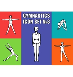 Boy gymnast athlete performs a variety exercises vector