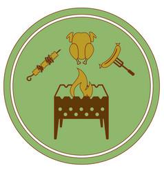 Brazier kebab chicken and sausage icon vector