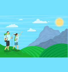 cartoon color characters people and hiking family vector image