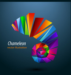 chameleon from color triangles logo vector image