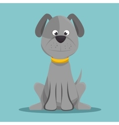 Character doggy gray sitting design vector