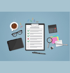 checklist on workplace vector image