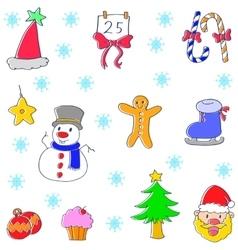 Christmas set doodle art vector image