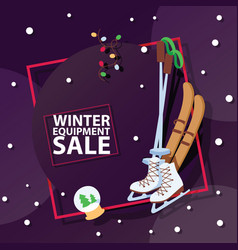 Christmas winter sport goods equipment sale vector