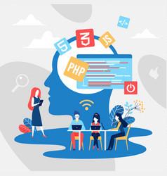 coding teamwork concept create code vector image