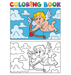 Coloring book with cupid 2 vector