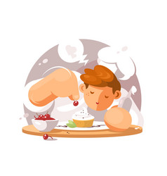 Confectioner in white cap vector