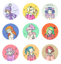 cute comics anime girl emotion sticker isolated vector image