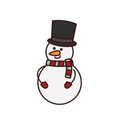 cute snowman character isolated icon vector image