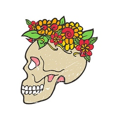 Day of dead skull with marigold vector