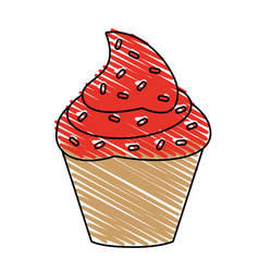 delicious cupcake with sprinkles icon imag vector image