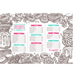 dessert candy bakery and sweets menu vector image