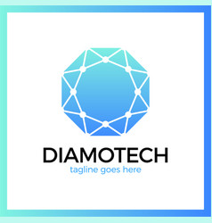 diamond line connect dots tech logotype top view vector image
