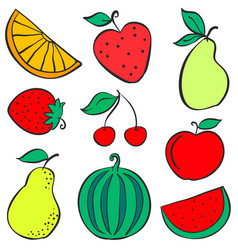 Doodle of fruit various collection stock vector