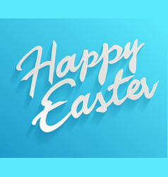 Easter greetings hand lettering badge on blue vector