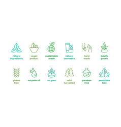 Eco line badge handmade eco logos natural vector