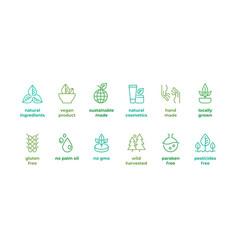 eco line badge handmade logos natural vector image