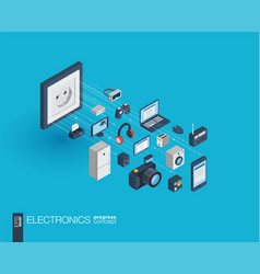 electronics integrated 3d web icons growth and vector image