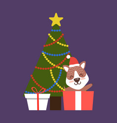 evergreen christmas tree with color garlands corgi vector image vector image
