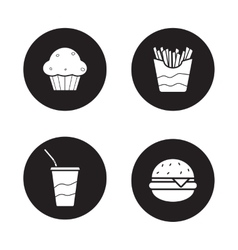Fast food black icons set vector