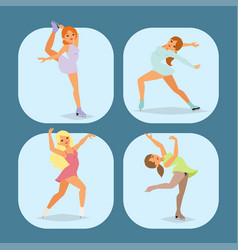 figure ice skater cartoon trick figure vector image