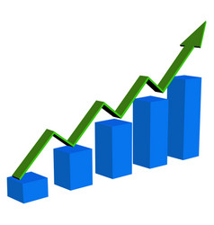 Financial trend up going 3d arrow graph vector