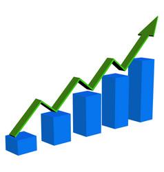 Financial trend up going 3d arrow graph vector