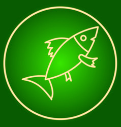 Fish in a neon circle easter vector
