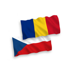Flags romania and czech republic on a white vector