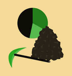 Flat icon on stylish background coal and hammer vector