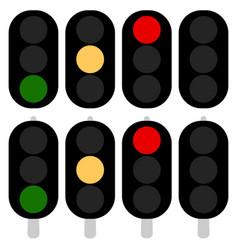 Flat semaphore traffic light icons symbols vector