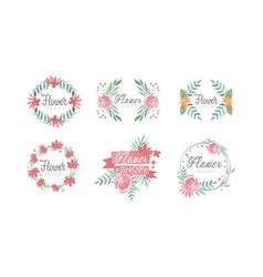 flower shop logo templates set badges emblems vector image