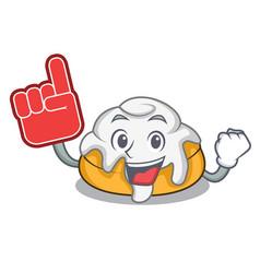Foam finger cinnamon roll mascot cartoon vector