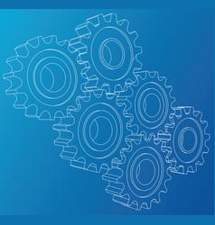 Gear wheel rendering of 3d wire-frame vector