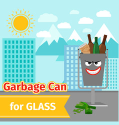 glass trash can with monster face vector image