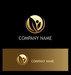 gold leaf organic company logo vector image