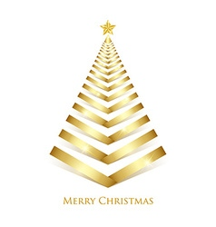Golden Christmas tree vector