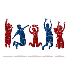 Group children jumping happy feel good cartoon vector