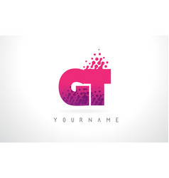 gt g t letter logo with pink purple color and vector image