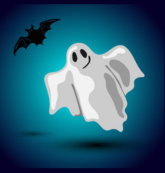 halloween flyer design with flying ghost and bat vector image