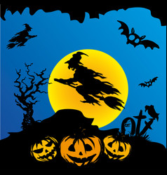 halloween witch flying on broomstick vector image