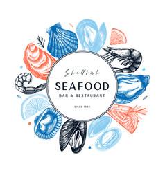 hand drawn seafood design shellfish frame on vector image