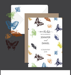 hand drawn sketch wedding butterfly vector image