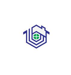 hexagon house logo vector image