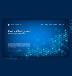 Hexagonal tech molecule genetic website template vector