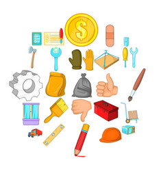 home renovation icons set cartoon style vector image