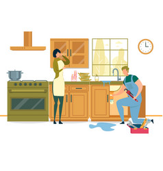 Housewife calling plumber to fix burst pipes vector