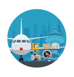 Icon air cargo services and freight vector