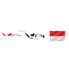 Indonesia detailed flag map detailed silhouette vector