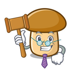 Judge porcini mushroom mascot cartoon vector